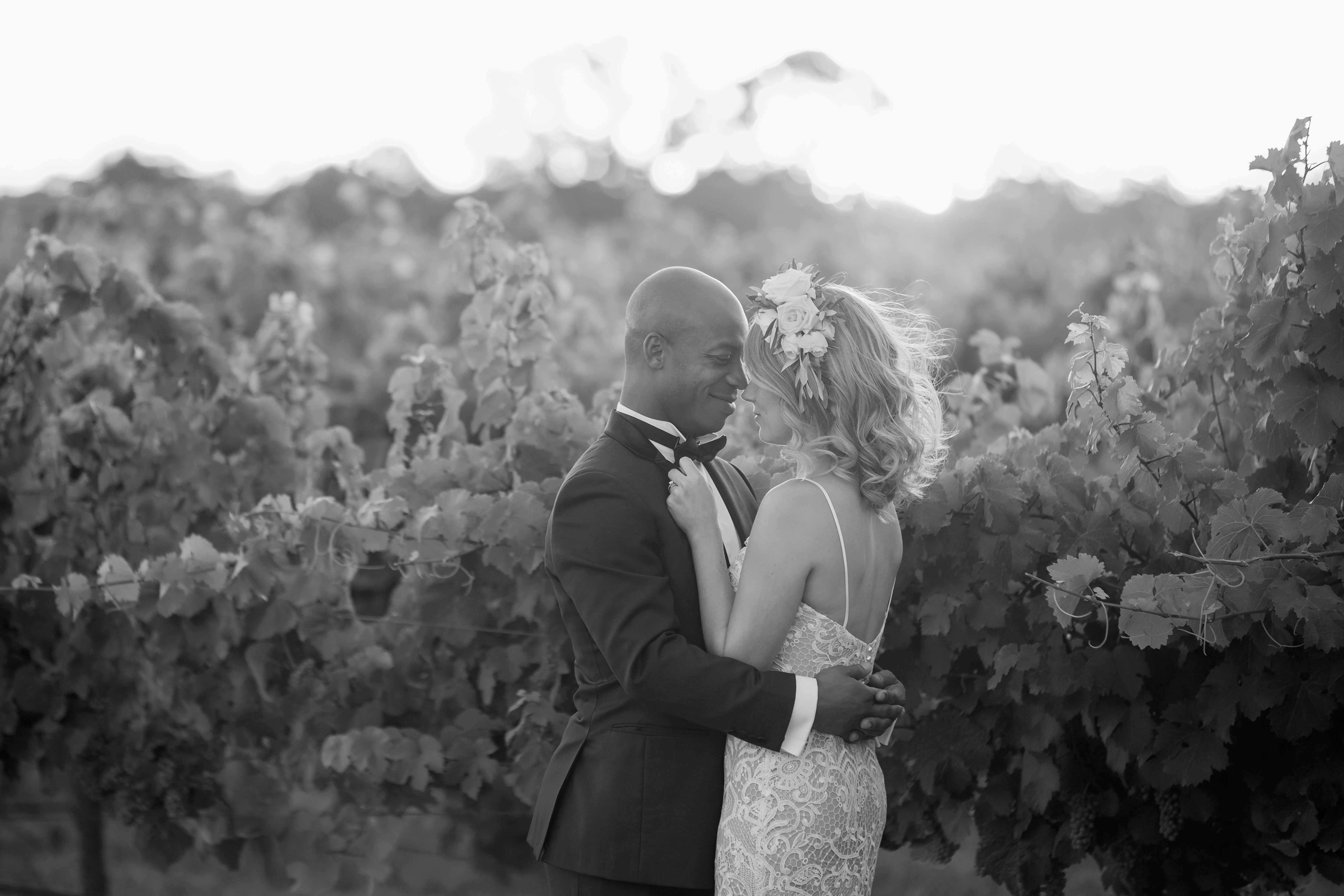 Bride and Groom in the vines