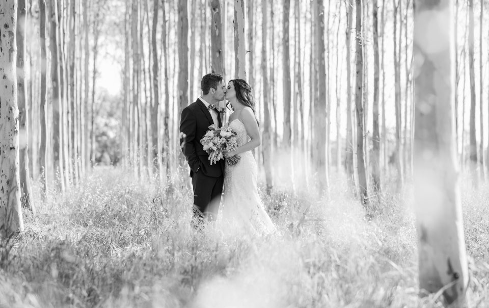 Bride and Groom kissing in sunlit forest