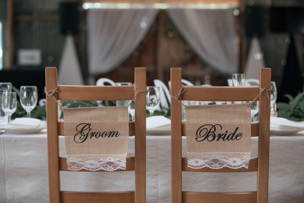 Bride and Groom chairs at Bridal Table