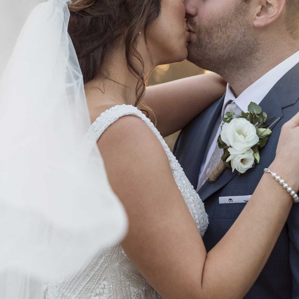 Closeup of Bride and Groom kissing