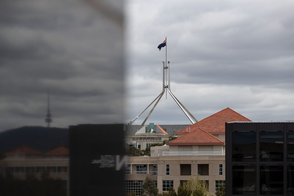 View of Parliament House with Reflection of Telstra Tower
