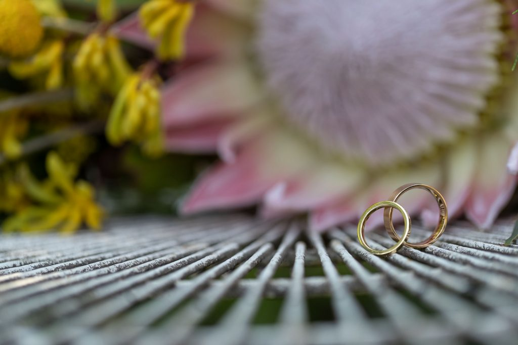 Wedding rings with Native Australian Wedding Flowers