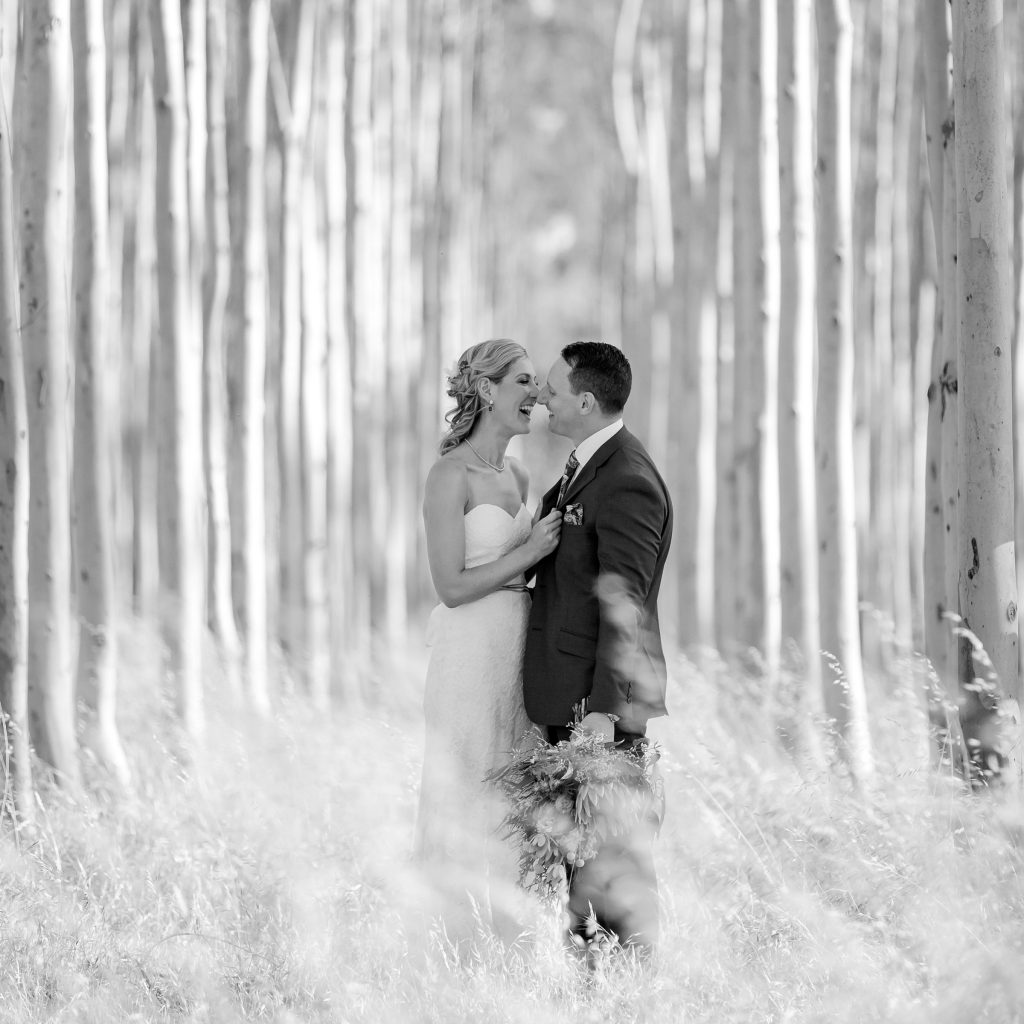 Bride and Groom in tall trees, Brown Brothers Winery Wedding