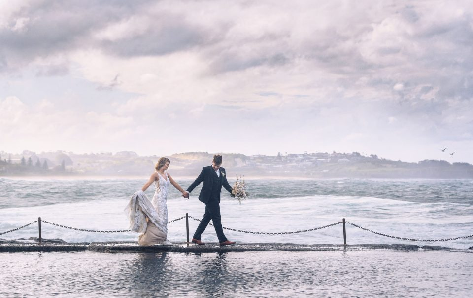 Bridal Photography by the rock pool, sunset South Coast NSW